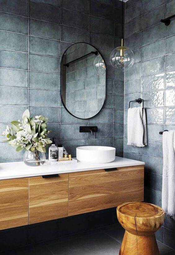 Porcelanato para banheiro azul