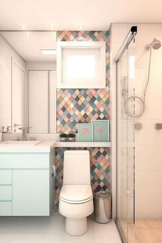 Porcelanato para banheiro azul e rose