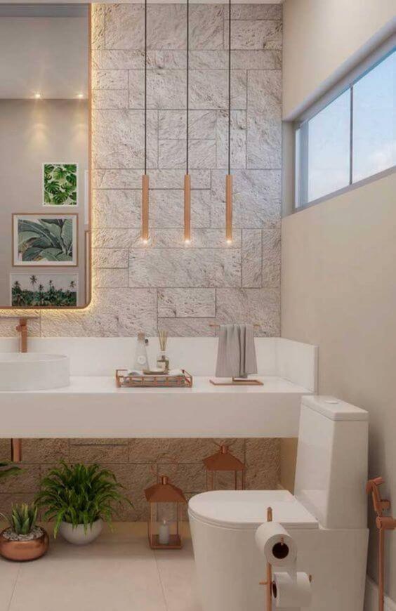 Porcelanato para banheiro branco e elegante