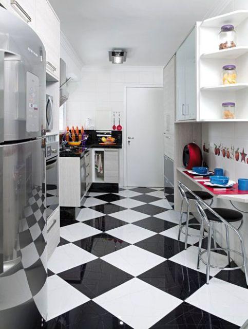 Porcelanato preto e branco para cozinha moderna