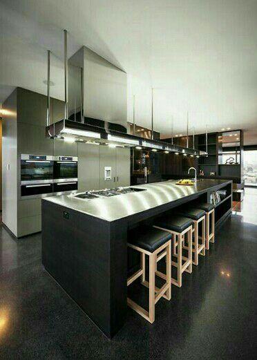 Porcelanato preto fosco para cozinha moderna