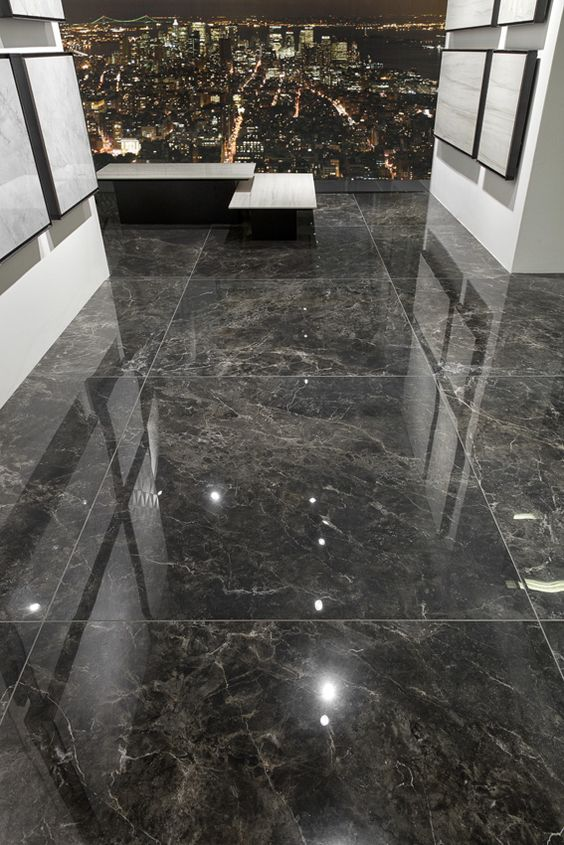 Porcelanato preto marmorizado e polido