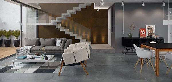 Porcelanato retificado cimento queimado para sala de estar moderna