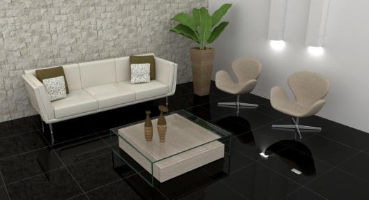 Sala clássica com piso porcelanato preto e móveis claros