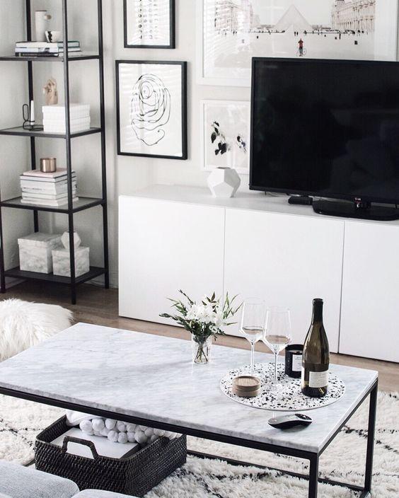 Mesa de centro de granito para sala de TV