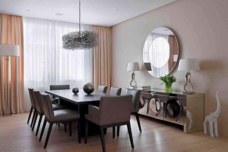 armário buffet espelhado para decoração de sala de jantar Foto Pinterest