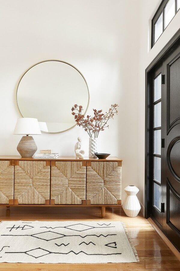 armário buffet para decoração de hall com espelho redondo Foto Houzz