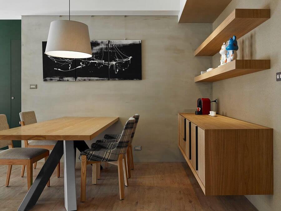 armário buffet suspenso para decoração de sala de jantar com estilo industrial Foto Architizer