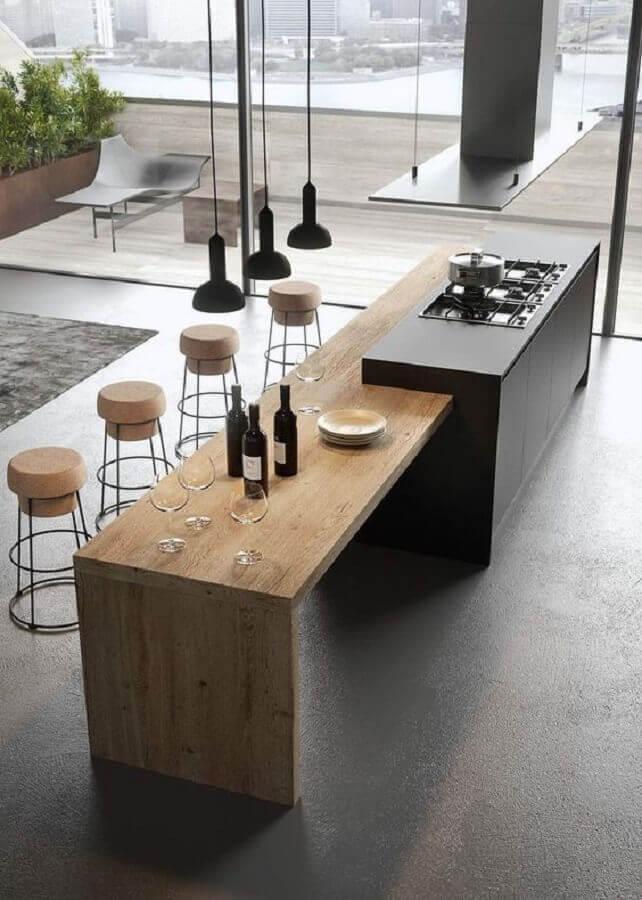 banquetas rolhas para decoração de ilha de cozinha com mesa de madeira e cooktop Foto Futurist Architecture