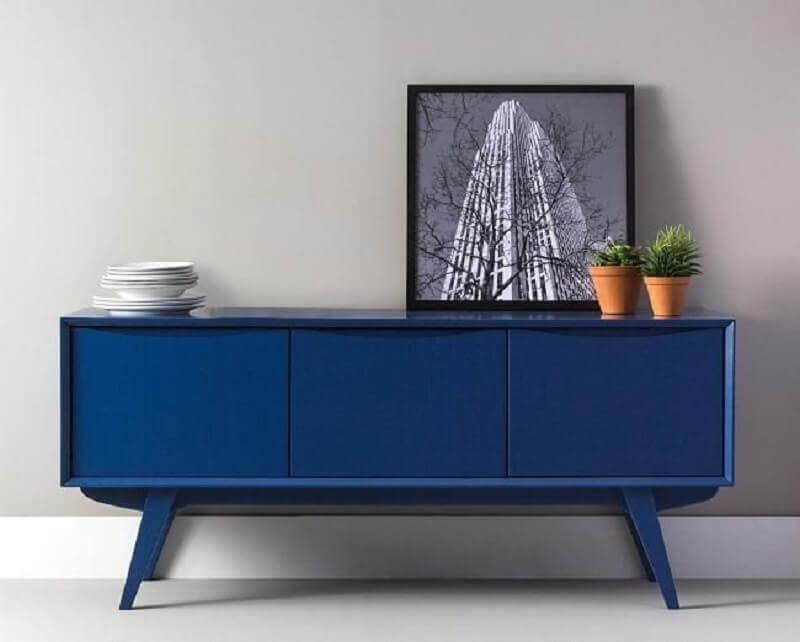 decoração clean com armário buffet azul Foto Pinterest
