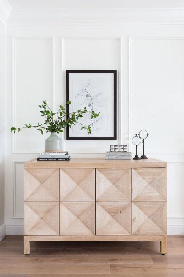 decoração clean com armário buffet de madeira clara  Foto Scout & Nimble