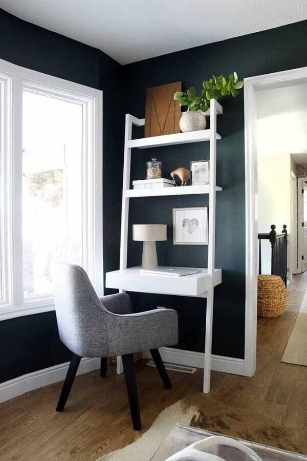 decoração clean com escrivaninha para estudo com estante Foto Home Fashion Trend