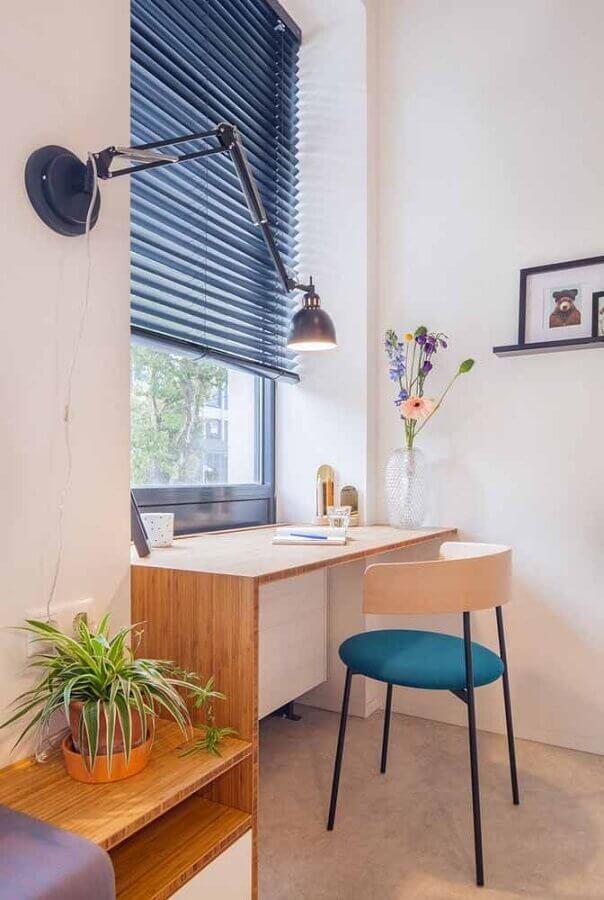 decoração clean com escrivaninha para estudo planejada Foto Archdaily
