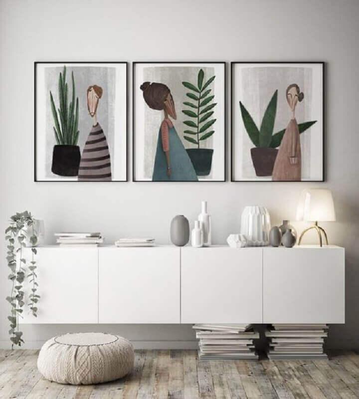 decoração clean com quadros e armário buffet branco suspenso Foto Etsy