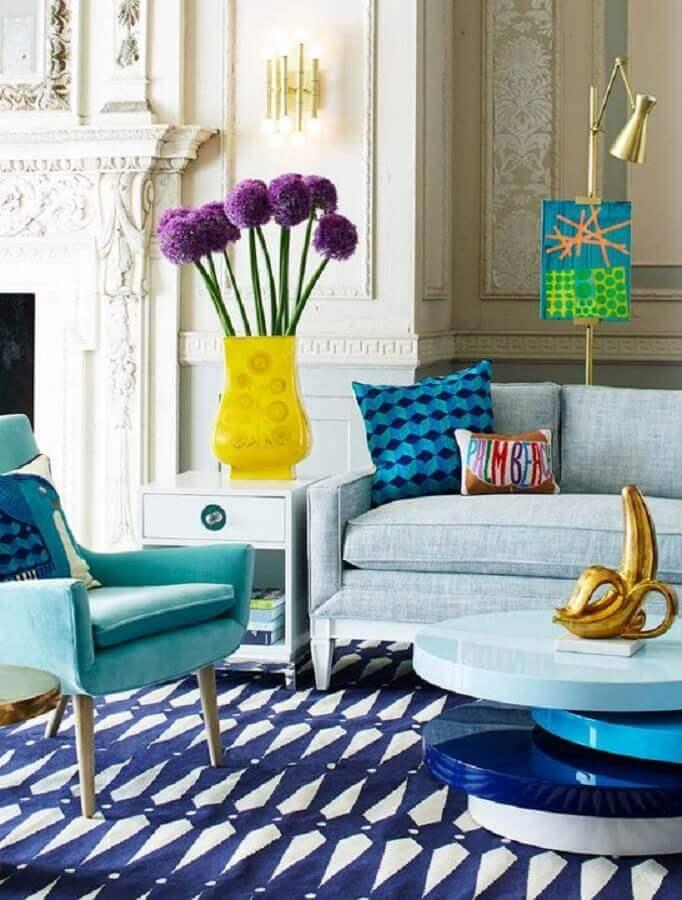 decoração colorida para sala de visita Foto Architectural Digest