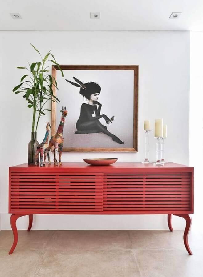 decoração com armário buffet vermelho Foto Homify