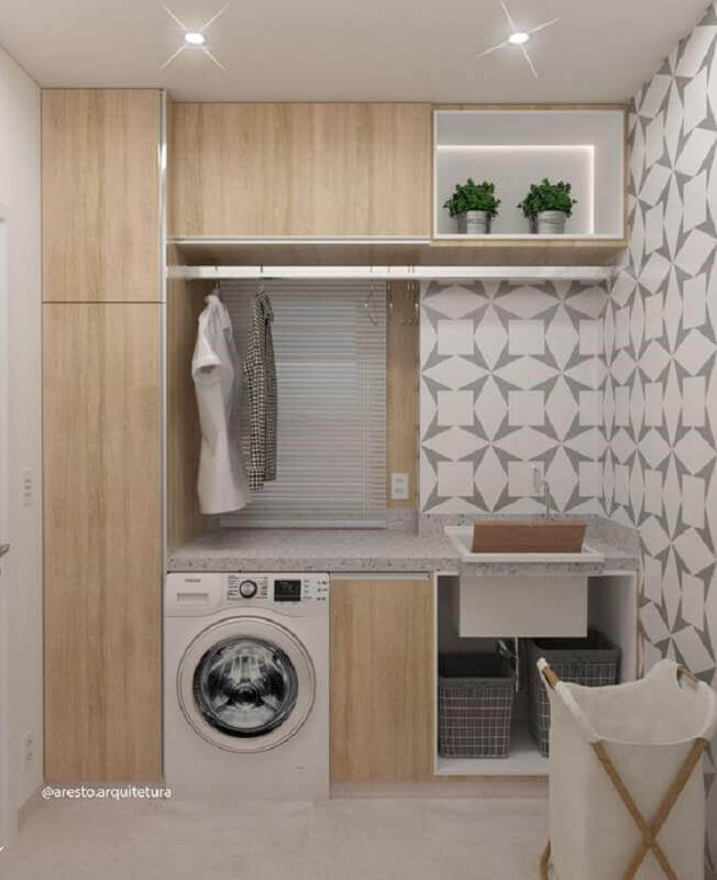 decoração com armário para lavanderia planejada Foto Aresto Arquitetura