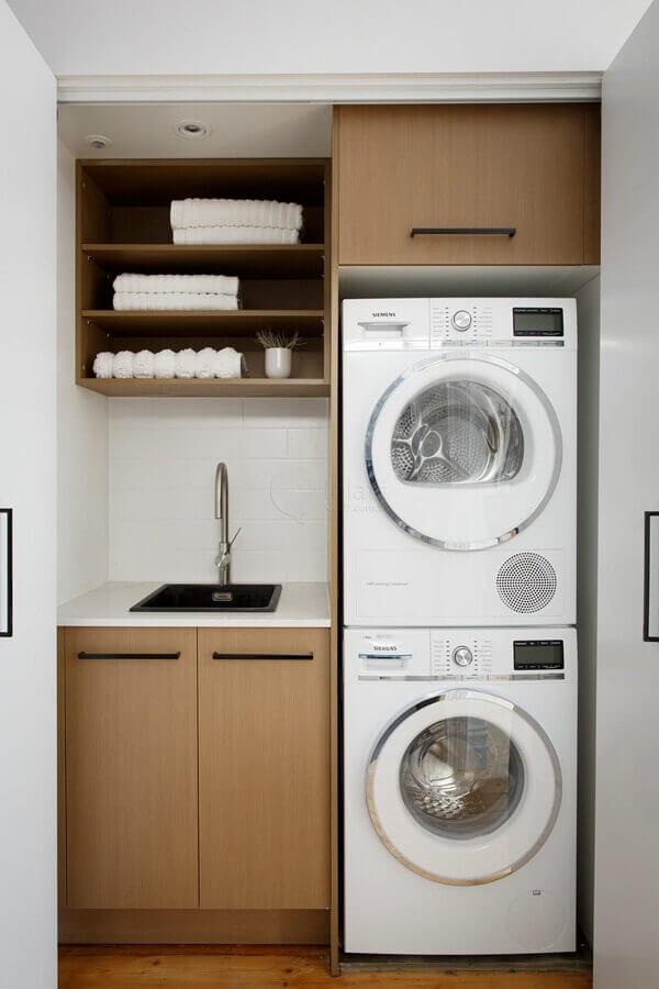decoração com móveis de madeira para lavanderia pequena Foto Home Fashion Trend