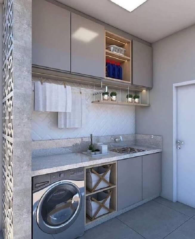 decoração com móveis para lavanderia cinza planejada Foto Pinterest