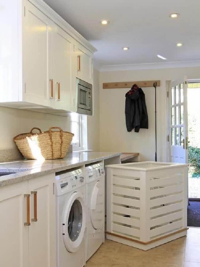 decoração com móveis planejados para lavanderia branca Foto Ideias para Decorar