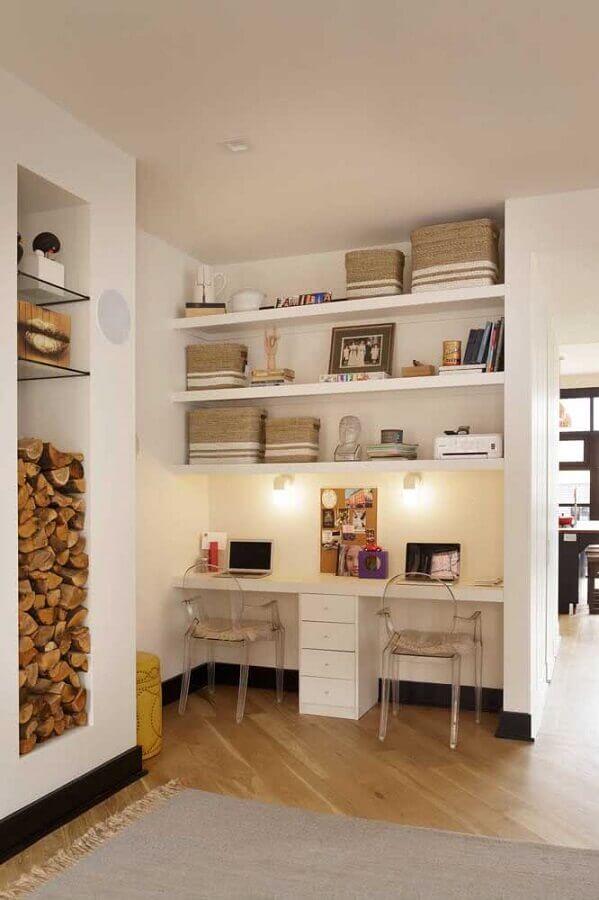 decoração de home office planejado com escrivaninha para estudante dois lugares Foto Architecture Art Designs