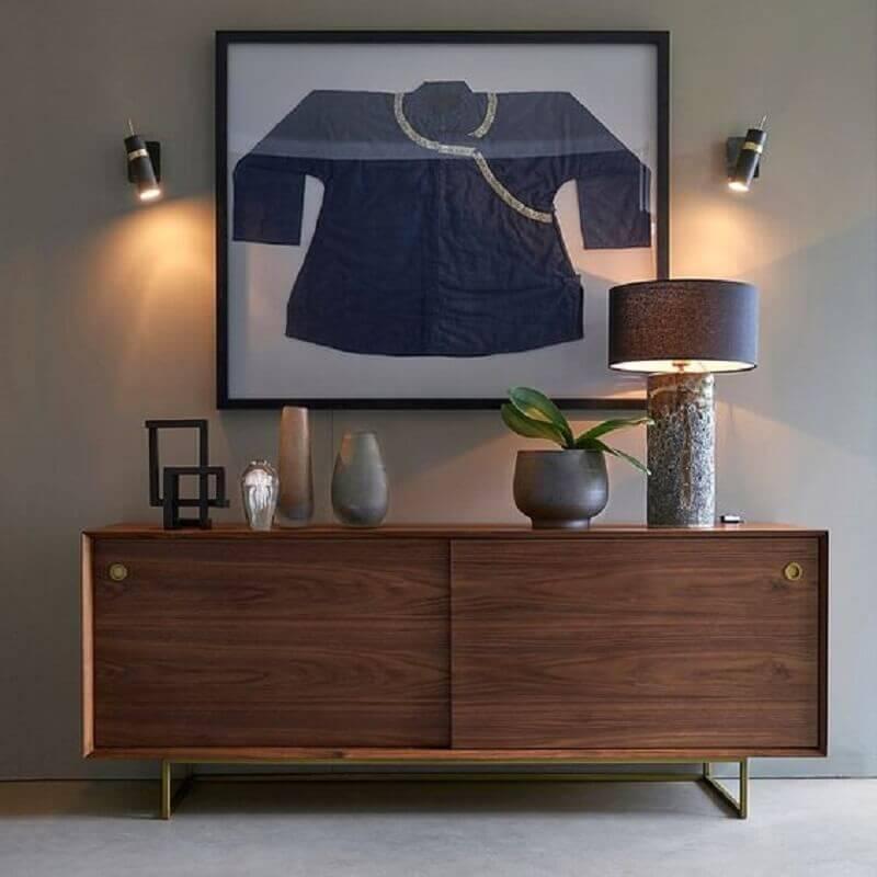 decoração de sala cinza com armário buffet de madeira  Foto La Redoute UK