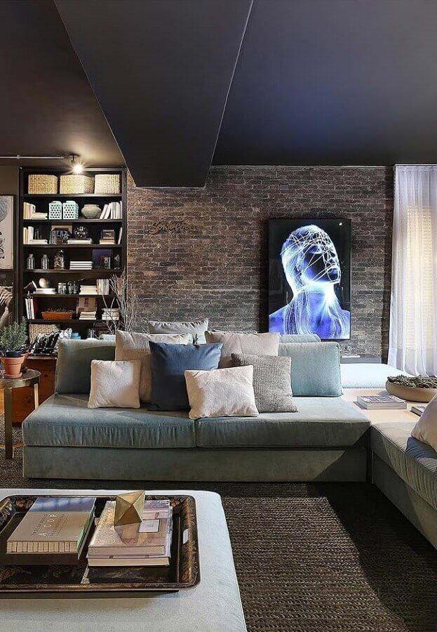 decoração de sala de visita moderna com sofá cinza e parede de tijolinho Foto Futurist Architecture
