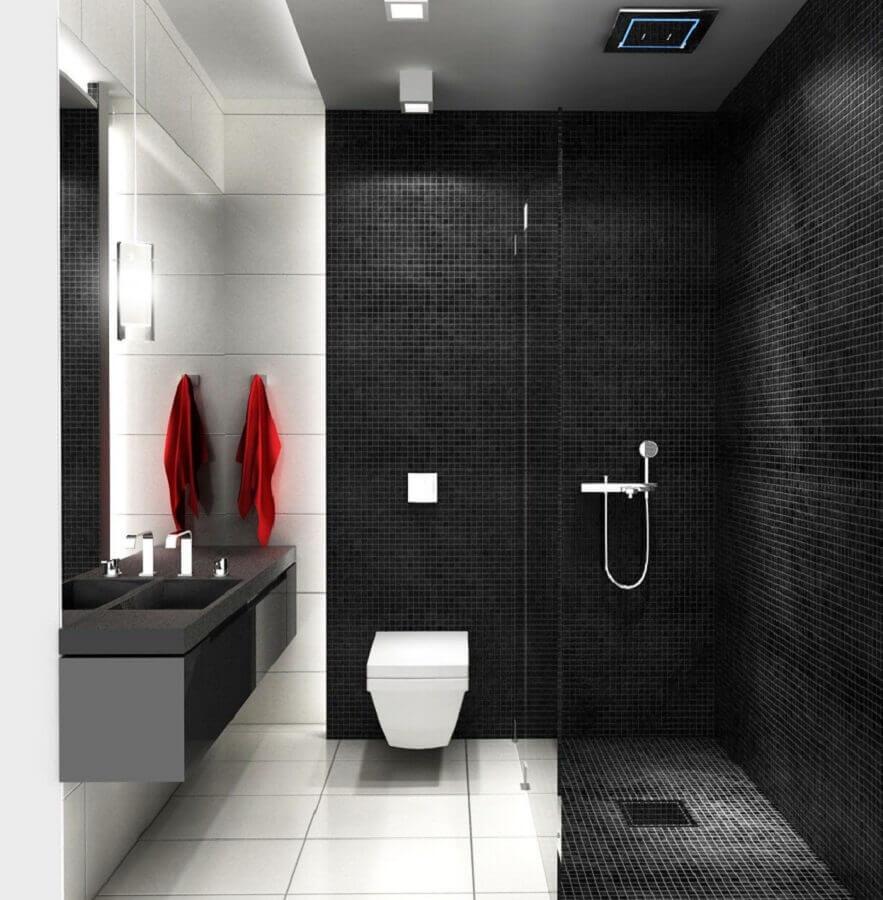 decoração minimalista com revestimento preto para banheiro Foto Pinterest