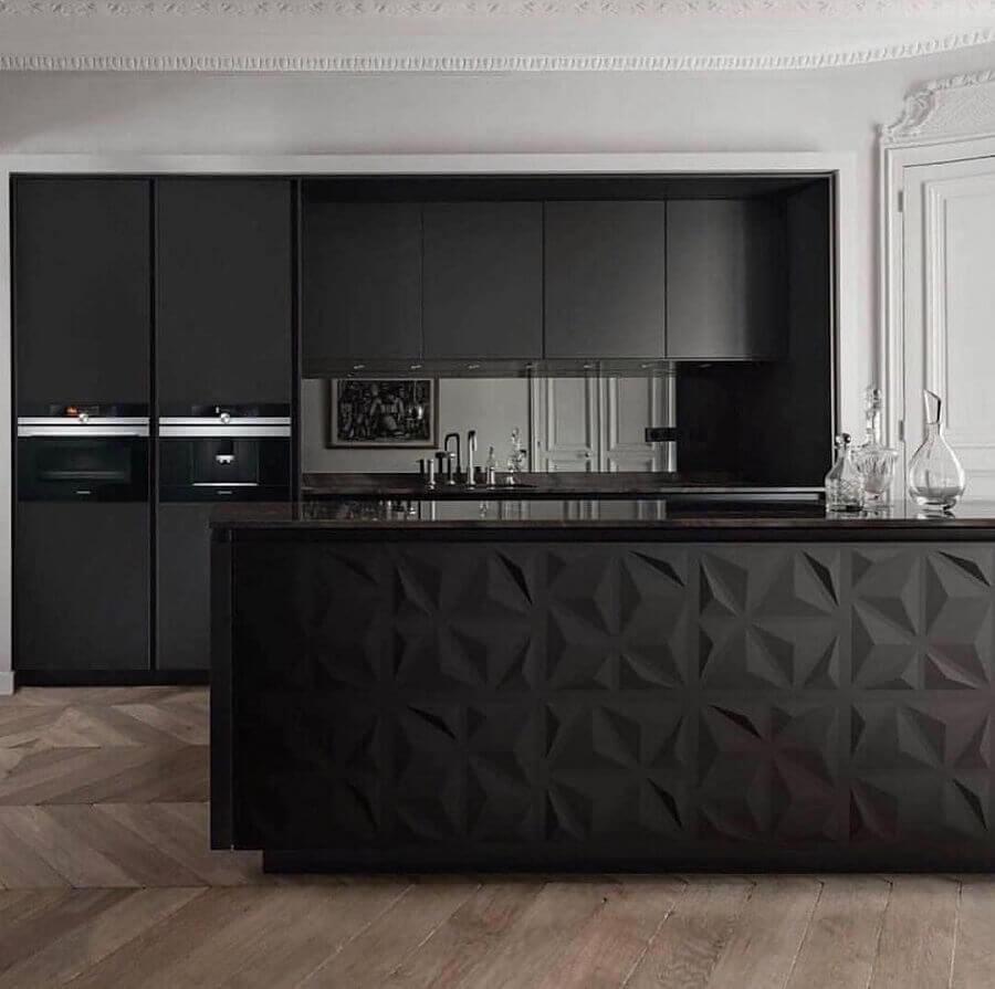 decoração moderna com revestimento 3D preto para cozinha com ilha Foto Dicas Decor