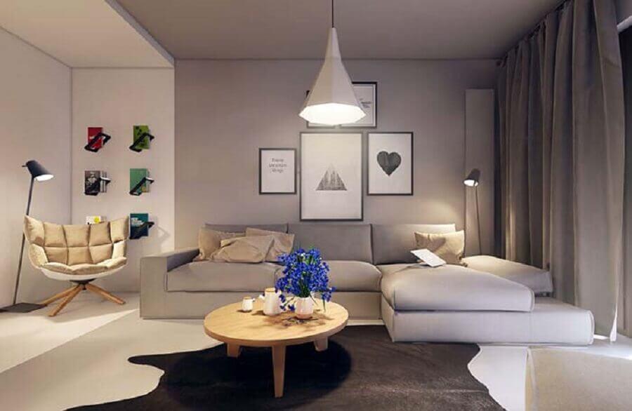 decoração moderna para sala de visita cinza Foto Pinterest