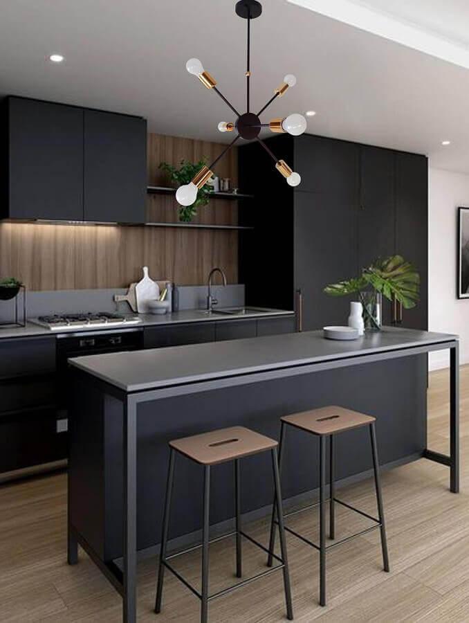 luminária decorativa moderna para decoração de cozinha preta Foto Etsy