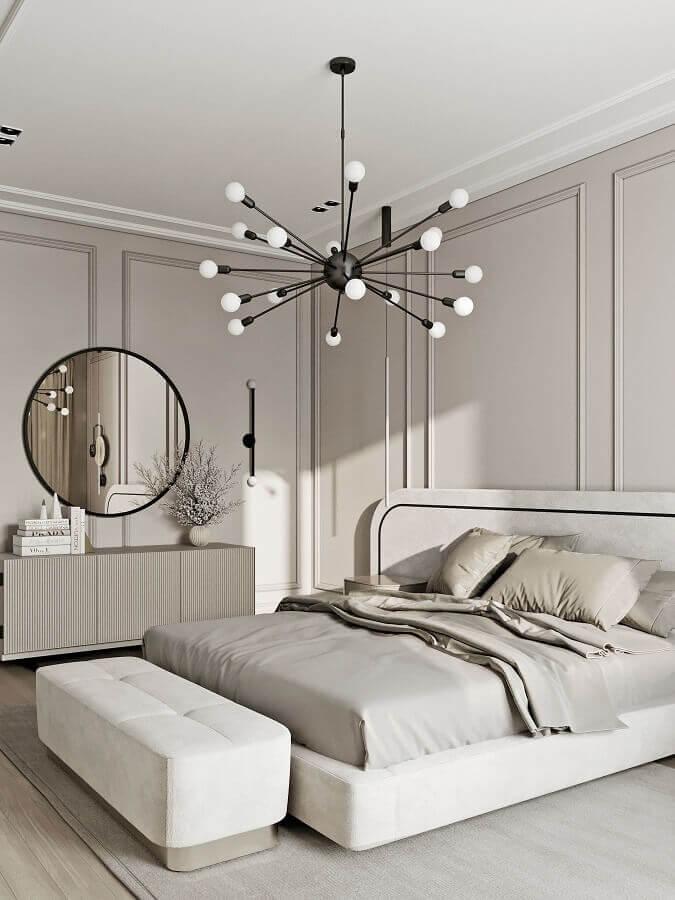 luminária decorativa moderna para quarto de casal decorado em cores claras Foto Behance