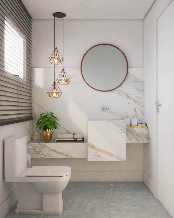 luminárias decorativas aramadas para decoração de banheiro com bancada de mármore Foto Pinterest