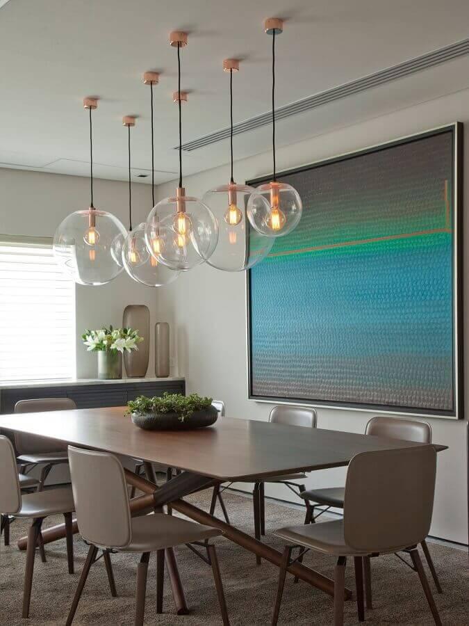 luminárias decorativas de vidro para decoração de sala de jantar moderna Foto Casa de Valentina