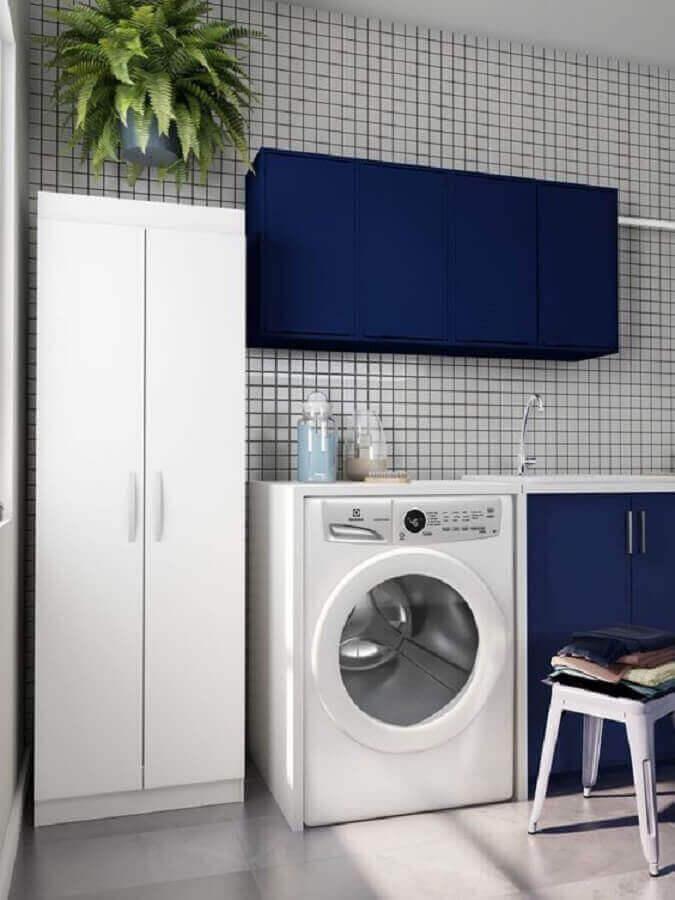 móveis para lavanderia decorada azul e branco Foto Pinterest