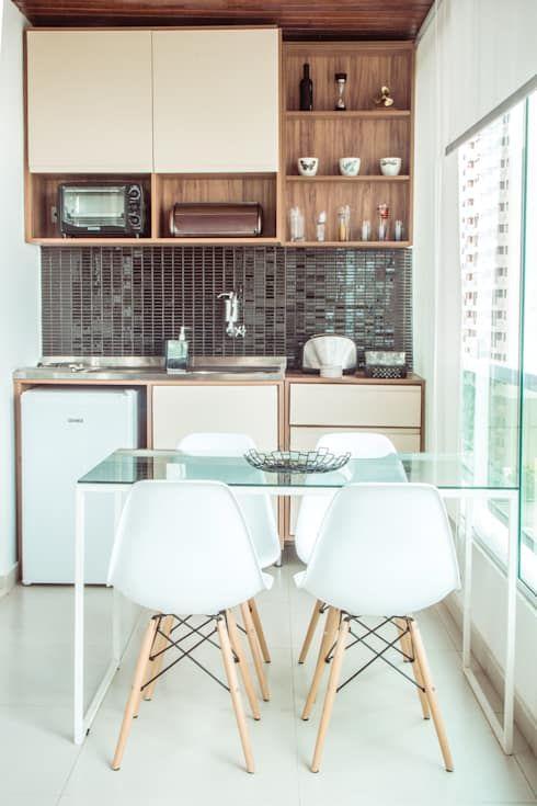 Mesa para sacada gourmet de vidro