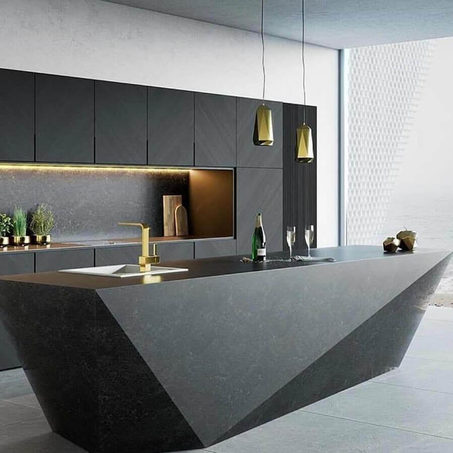modelos de ilha para cozinha preta planejada moderna  Foto Futurist Architecture