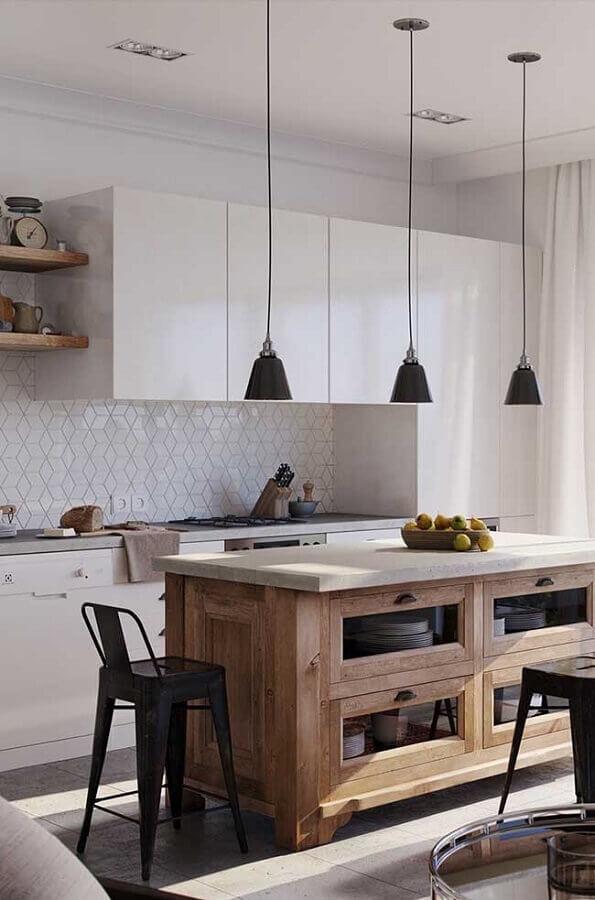 pendente preto para decoração de ilha de madeira para cozinha branca Foto Home Fashion Trend