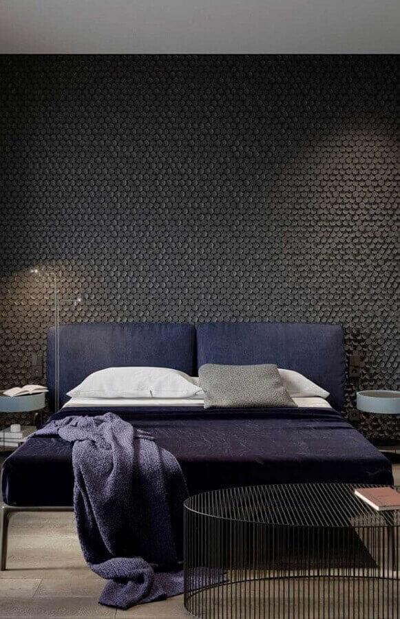 quarto moderno decorado com revestimento 3D preto Foto Otimizi