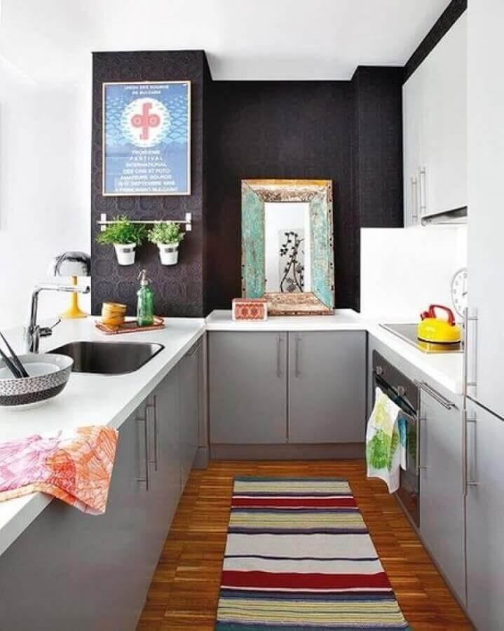 revestimento de parede preto para decoração de cozinha cinza Foto Decoholic