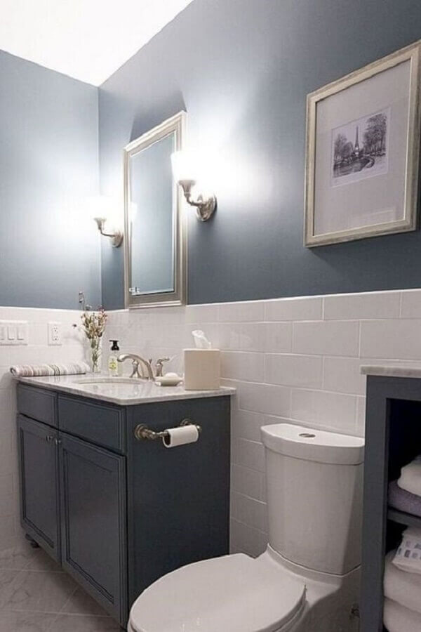 revestimento meia parede para decoração de banheiro cinza e branco Foto Jeito de Casa