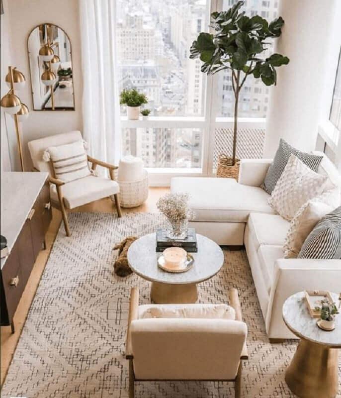 sofá com chaise para decoração de sala de visita clean Foto Pinterest
