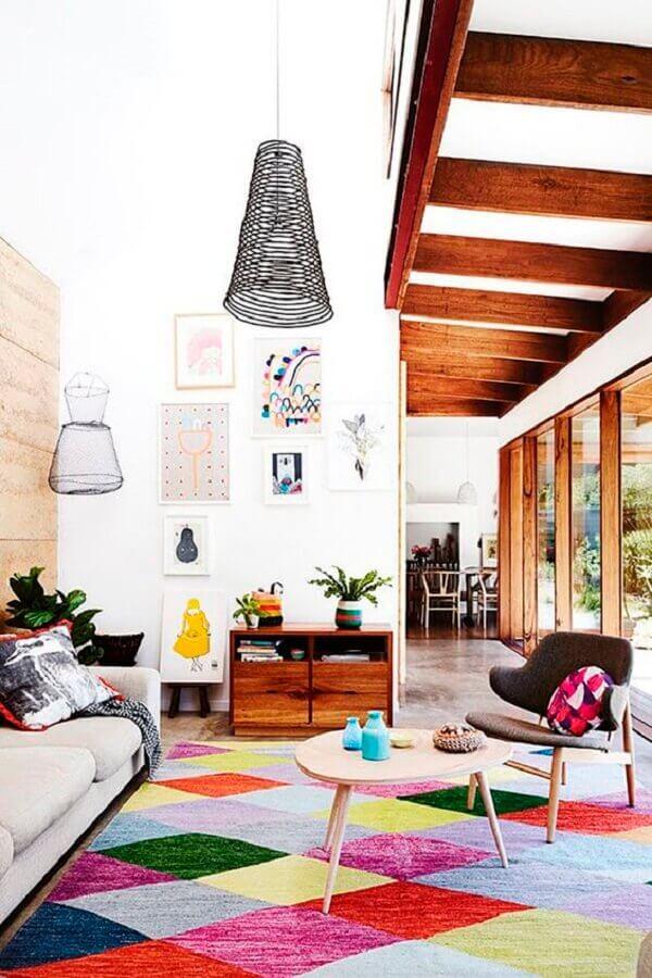 tapete colorido para decoração de sala de visita Foto Casa de Valentina