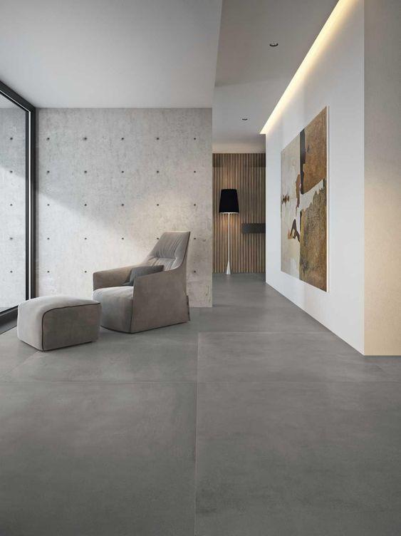 Sala de estar com porcelanato cinza