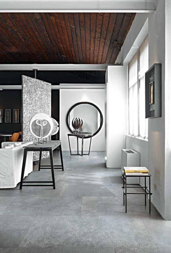 Porcelanato cinza para sala de estar moderna