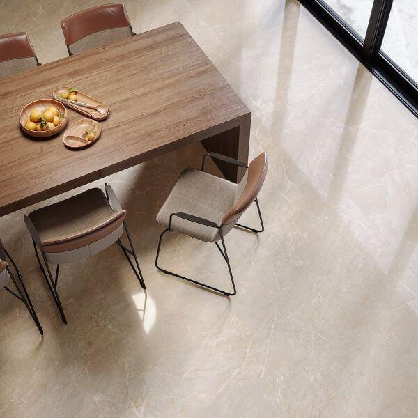 Sala de jantar com cores de porcelanato bege