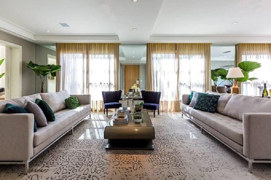 tons de cinza para decoração de sala de visita ampla Foto Maria Lavínia Arquitetura