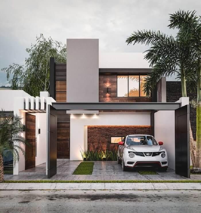 A cobertura para garagem deve se conectar com a arquitetura do imóvel. Fonte: Behance