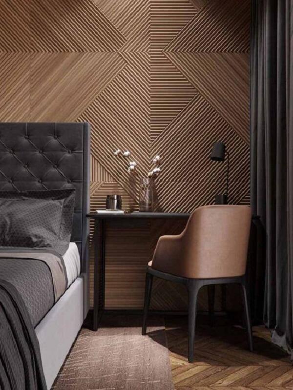 A decoração de quarto marrom e preto traz elegância e sofisticação. Fonte: Pinterest