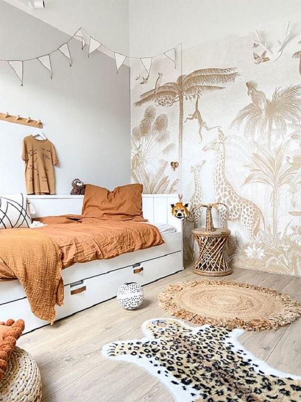 Aposte em diferentes tonalidades de marrom no quarto. Fonte: Pinterest